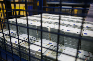 Wads of 5 euro banknotes are stacked in a pile at the Money Service Austria company's headquarters in Vienna