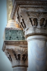 The columns on the exterior of the Saint Mark Basilica on San Marco square in Venice, Italy