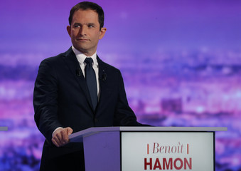 French politician Hamon attends the first prime-time televised debate for the French left's presidential primaries in La Plaine Saint-Denis