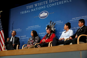 Obama participates in a panel discussion with Ticknor, White, Johnson and Douglas at the annual White House Tribal Nations Conference in Washington