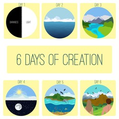Six days of Creation.Genesis.  Bible creation story pictures.Infographics. Vector illustration.