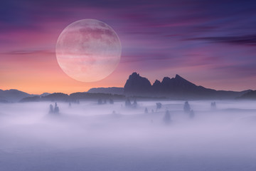 Full moon on idyllic fantasy scenery and misty scene