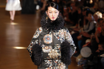 A model presents a creation by Chinese designer Xiong Ying as part of her Spring/Summer 2017 women's ready-to-wear collection for fashion house Heaven Gaia during Fashion Week in Paris