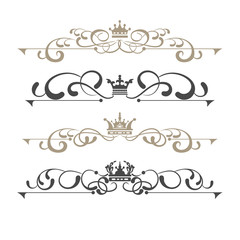 Vector set. Victorian Scrolls and crown. Decorative elements