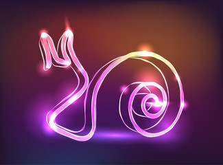 Glowing neon sign snail vector