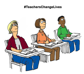 Education cartoon illustration showing three alert, attentive students and the words '#teacherschangelives'.
