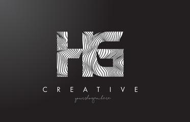 HG H G Letter Logo with Zebra Lines Texture Design Vector.