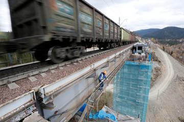 Train moves along Trans-Siberian Railway in Krasnoyarsk region