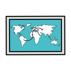 world map paper isolated icon vector illustration design