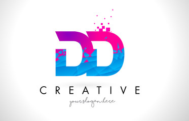 DD D D Letter Logo with Shattered Broken Blue Pink Texture Design Vector.