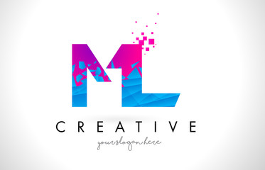 ML M L Letter Logo with Shattered Broken Blue Pink Texture Design Vector.