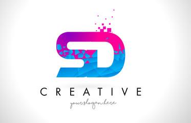 SD S D Letter Logo with Shattered Broken Blue Pink Texture Design Vector.