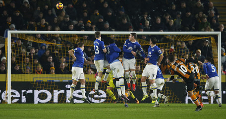 Hull City's Robert Snodgrass scores their second goal from a free kick