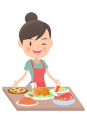 主婦 テーブルに料理を並べる