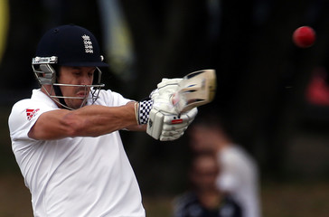 England's Compton hits a boundary during the first day of the second test against New Zealand at the Basin Reserve in Wellington
