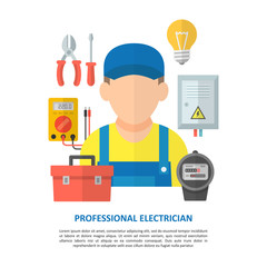 Electrician with household electrical equipment and tools.