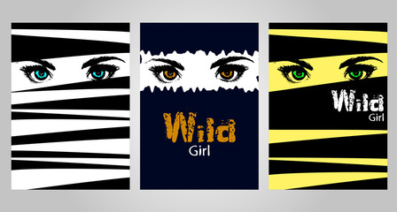 set of stylish posters with eyes