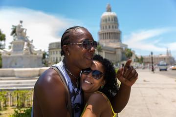 Happy Cuban couple in Havana, Cuba