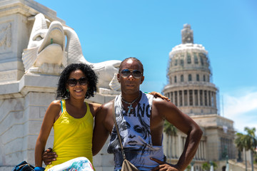 Happy Cuban couple in Havana, Cuba