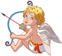 cartoon little angel cupid sitting and  holding a bow with arrow . Vector isolated on white