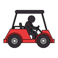 golf car with driver isolated icon vector illustration design