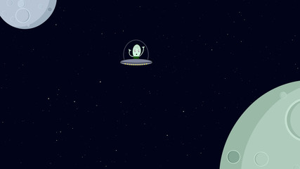 Alien flying in space ship. Retro cartoon style with flat design. Travel and adventure in cosmos.
