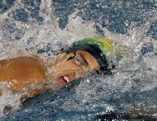 Brazil's Lucas Kanieski competes in the men's 1500m freestyle preliminaries at the Pan American Games in Guadalajara