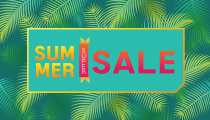 Vector of summer super sale poster design template with palm trees background.
