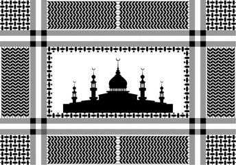 Cotton scarf with hounds tooth print and mosque silhouette.