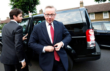 Britain's Justice Secretary Gove arrives at his home in London