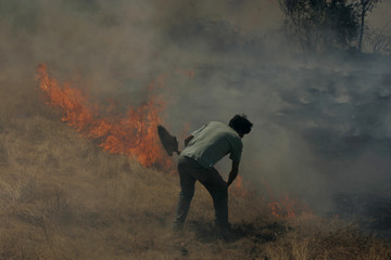 A man tries to put out a fire burning next to his house near Mangualde