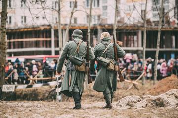 Unidentified Re-enactors Dressed As German Infantry Wehrmacht soldier