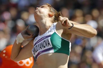 Uzbekistan's Elena Smolyanova competes in women's shot put qualification at London 2012 Olympic Games