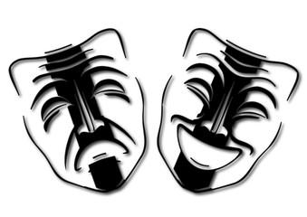 Masques de comédie triste et heureux