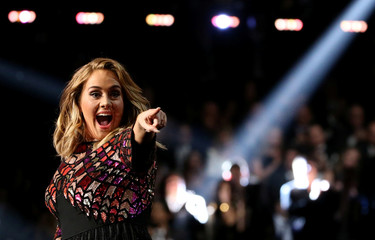 "Adele sings ""Hello"" at the 59th Annual Grammy Awards in Los Angeles"
