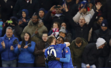 Leicester City's Wilfred Ndidi celebrates scoring their second goal with Andy King