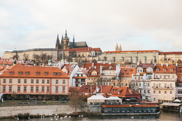 Beautiful views of the Old town with the Charles bridge in Prague, Czech Republic.