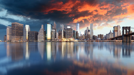 Poster New York Lower Manhattan at sunset, New York panorama