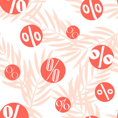 Seamless pattern with percent and palm branches. Vector summer background.