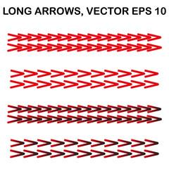 Set of vector long narrow arrows