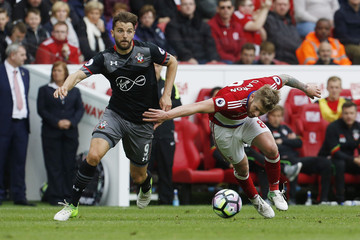 Southampton's Jay Rodriguez in action with Middlesbrough's Adam Clayton