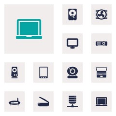 Set Of 12 Laptop Icons Set.Collection Of Show, Hard Disk, Amplifier And Other Elements.