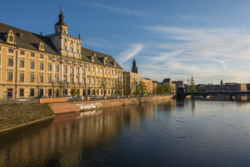 Scenic view of Wroclaw University from Odra River at sunset, Poland