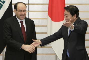 Iraqi Prime Minister Nouri al-Maliki meets Japan's counterpart Yoshihiko Noda in Tokyo