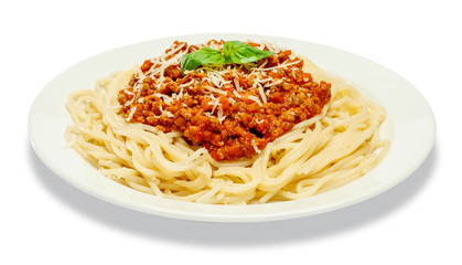 Spaghetti bolognese on a white plate Wall mural