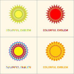 Floral emblems, round decorative ornaments, bright colorful mandala patterns set, eastern, islamic, muslim, indian circular symbols collection.