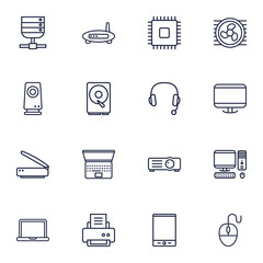Set Of 16 Computer Outline Icons Set.Collection Of Hdd, Notebook, Scanner And Other Elements.
