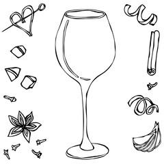 Red Vine Glass. Hand Drawn Vector Illustraition.