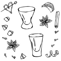 Shot Glass Sketch. Hand Drawn Vector Illustraition.
