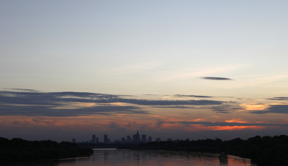 The cityscape of Warsaw photographed from Siekierkowski Bridge